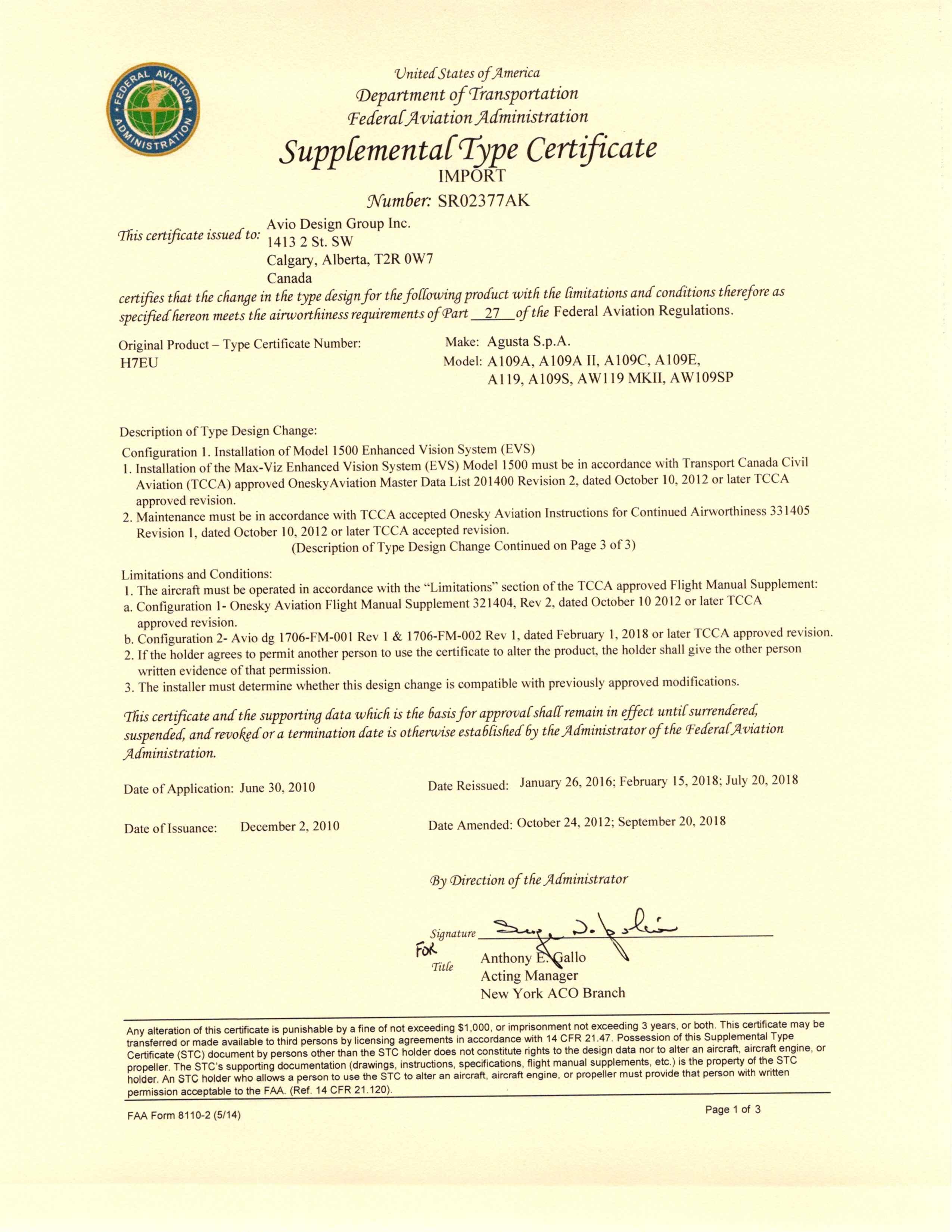 Avio design group image of Certificate FAA STC SR02377AK_Page_1